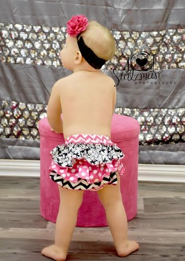 Baby Girl Bloomer in Hot Pink and black in chevron and damask print.