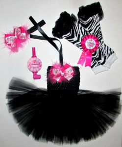 Newborn baby girl black and hot pink birthday tutu dress set