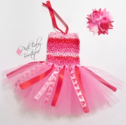 Newborn Tutu Dress Set in Pink & Red