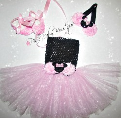 newborn tutu dress Minnie Mouse theme light pink and black