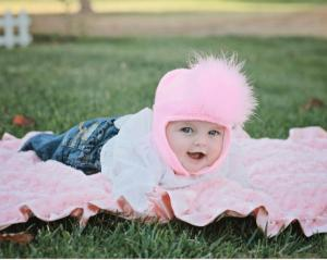 Pink baby girl hat with marabou feathers