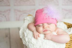 baby girl pink cotton hat with lavender curly marabou feathers
