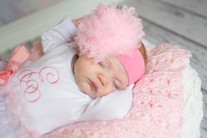 Baby girl candy pink soft headband with pale pink small curly marabou