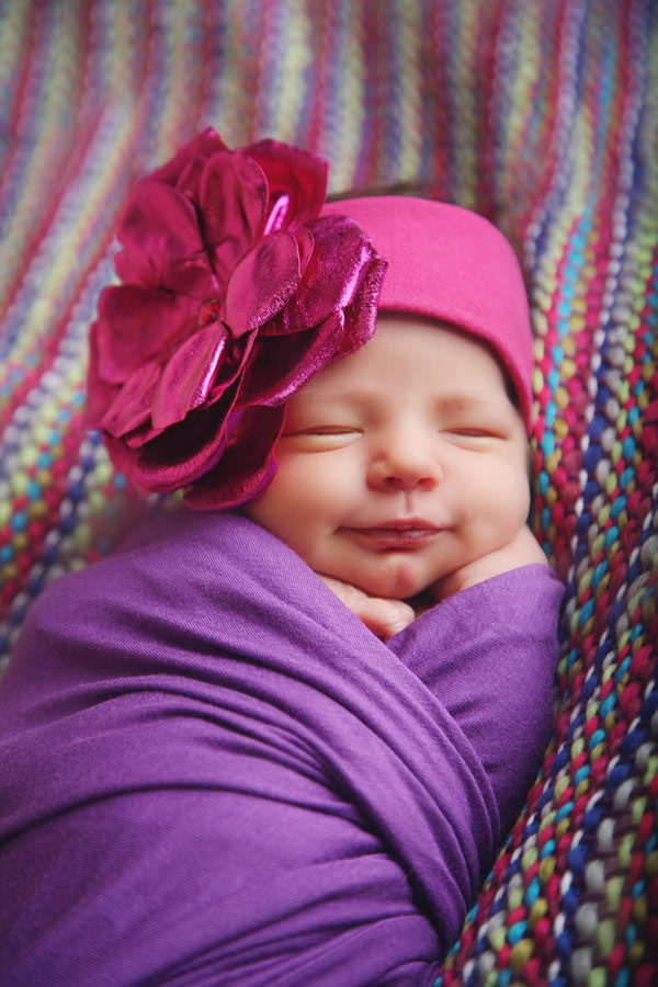 baby girl raspberry soft headband with a raspberry metallic rose
